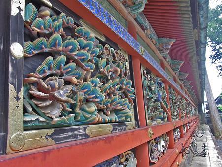 陽明門の回廊の彫刻