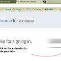 写真: Chromeエクステンション:Chrome for a Cause(認証完了、拡大)