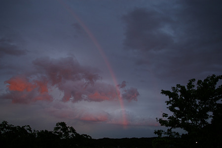 夕暮れ時の虹