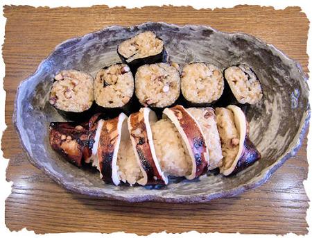 いかめしの飯の方が余ったら海苔巻きにして~。こっちもすごく人気あるの~!