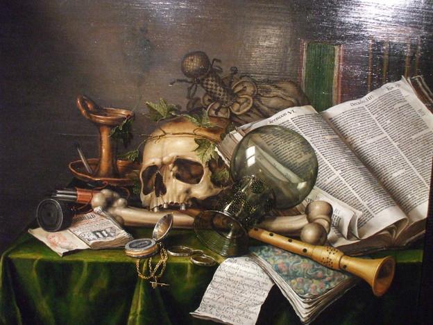 書物と髑髏のある静物