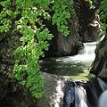 渓谷の中に緑の滝