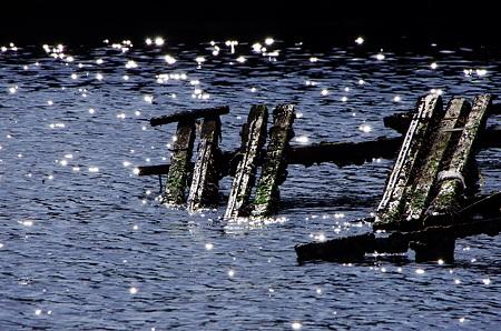 朽ちた桟橋。