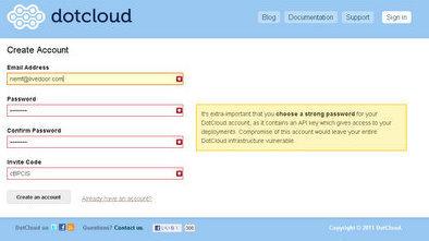 dotcloud 登録